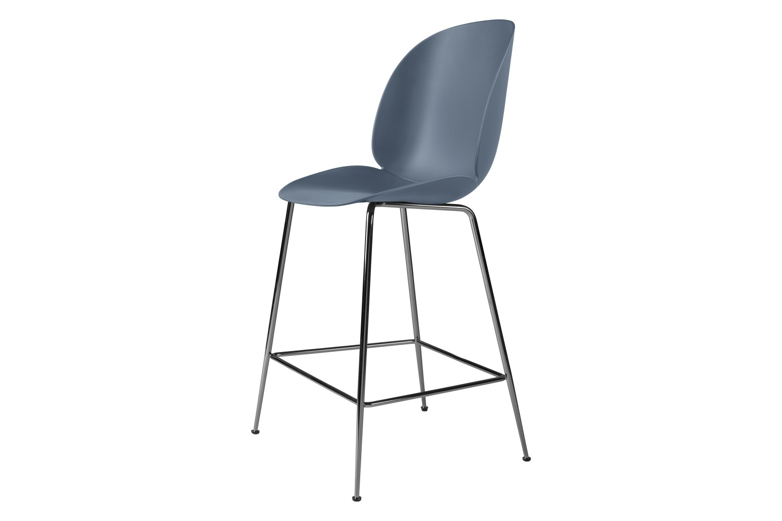 Beetle Counter Chair - Un-upholstered Conic base (Black Chrome Base, Smoke Blue, Plastic Glides)