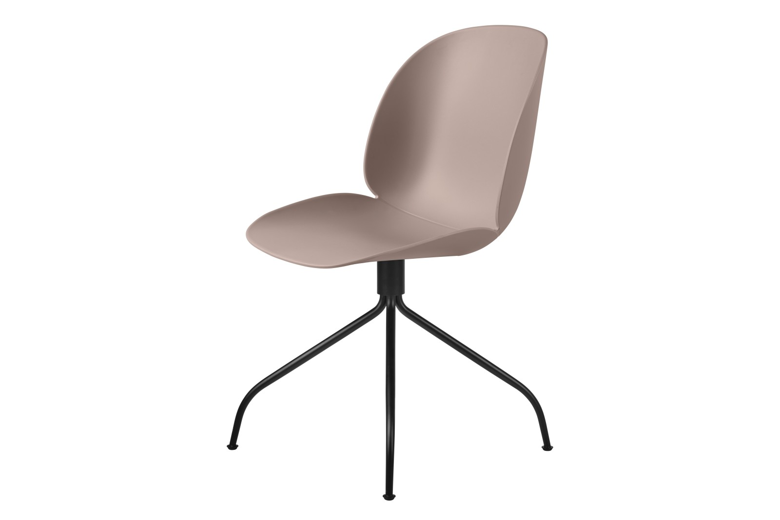 Beetle Un-Upholstered Swivel Meeting Chair Gubi Metal Matt Black, Plastic Sweet Pink, Plastic Glides