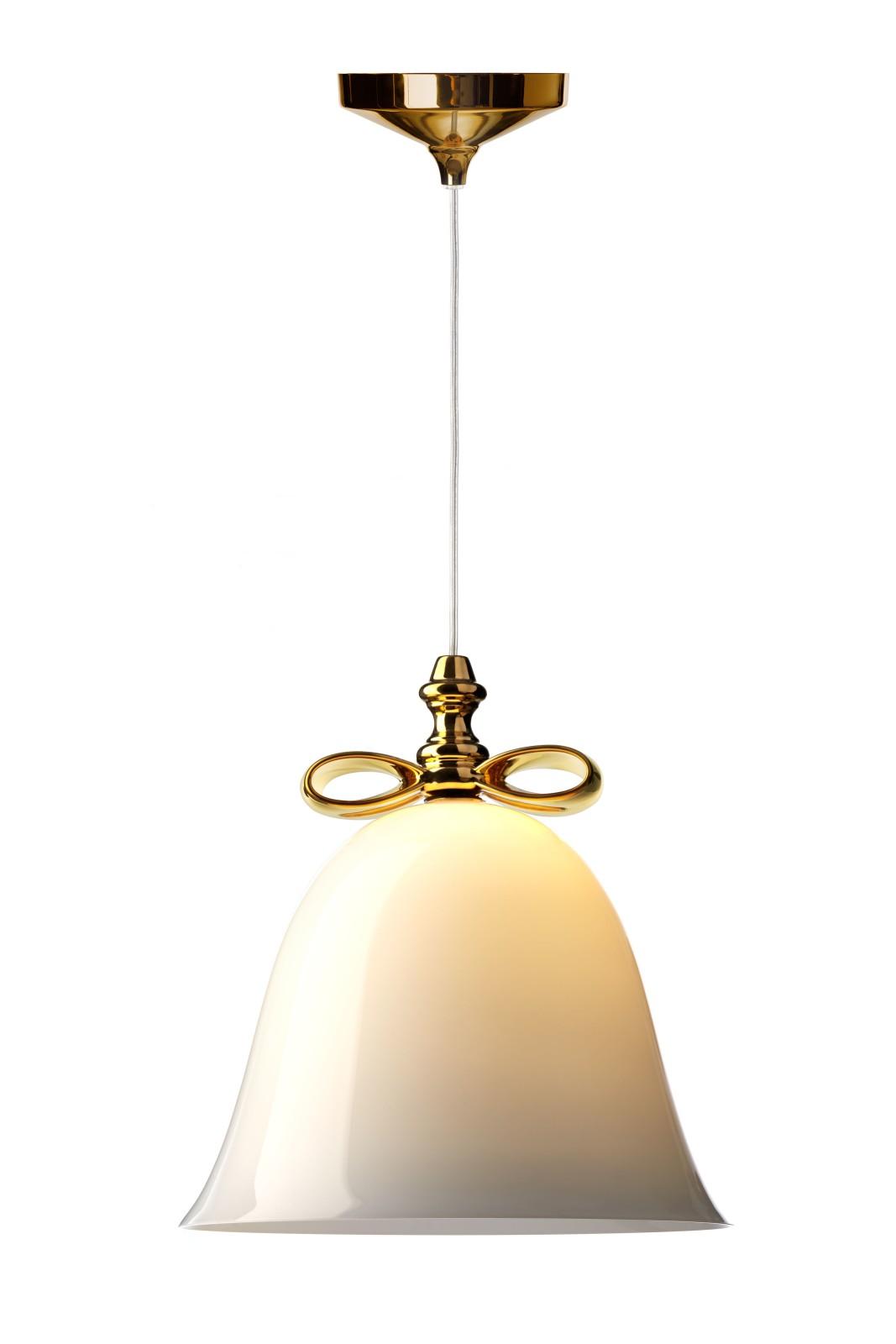 Bell Pendant Light White Shade, Golden Bow, Large