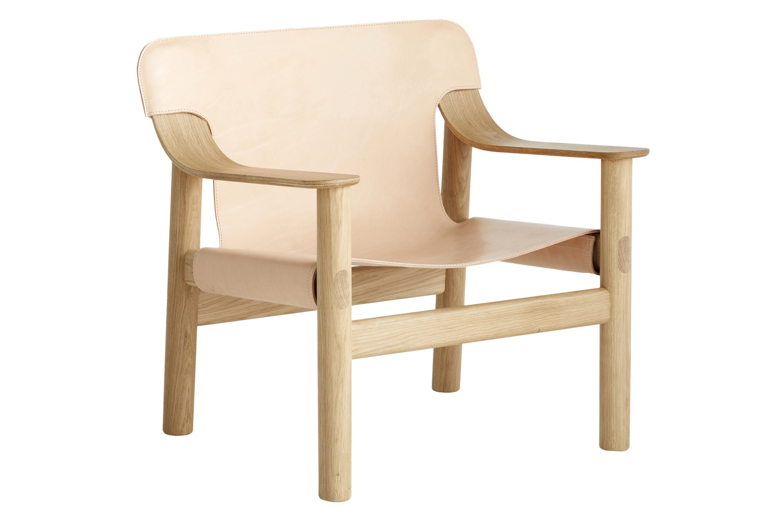 Bernard Armchair Nature Leather-Matt Oak