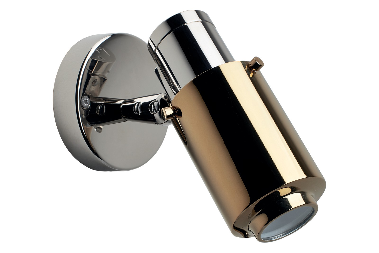 Biny Spot LED Wall Light Polished Nickel Body, Gold Anodized Lens, Without, Without