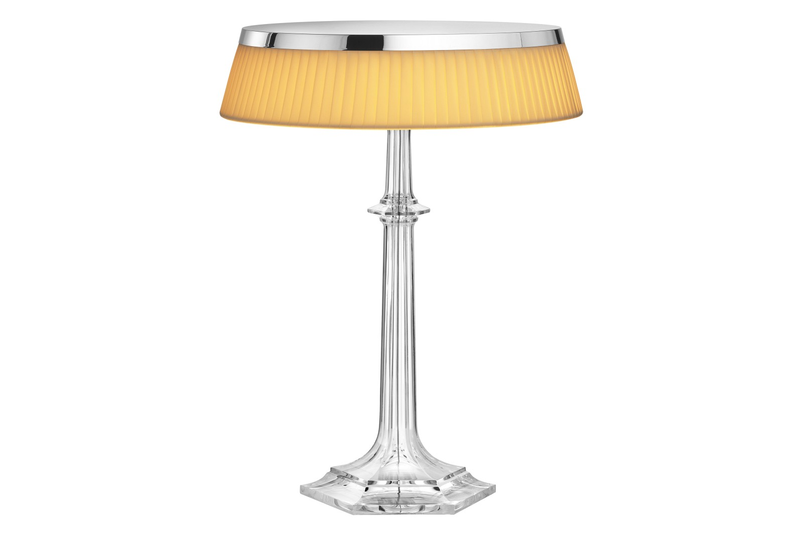 Bon Jour Versailles Table Lamp PMMA Chrome, Plissé Cloth