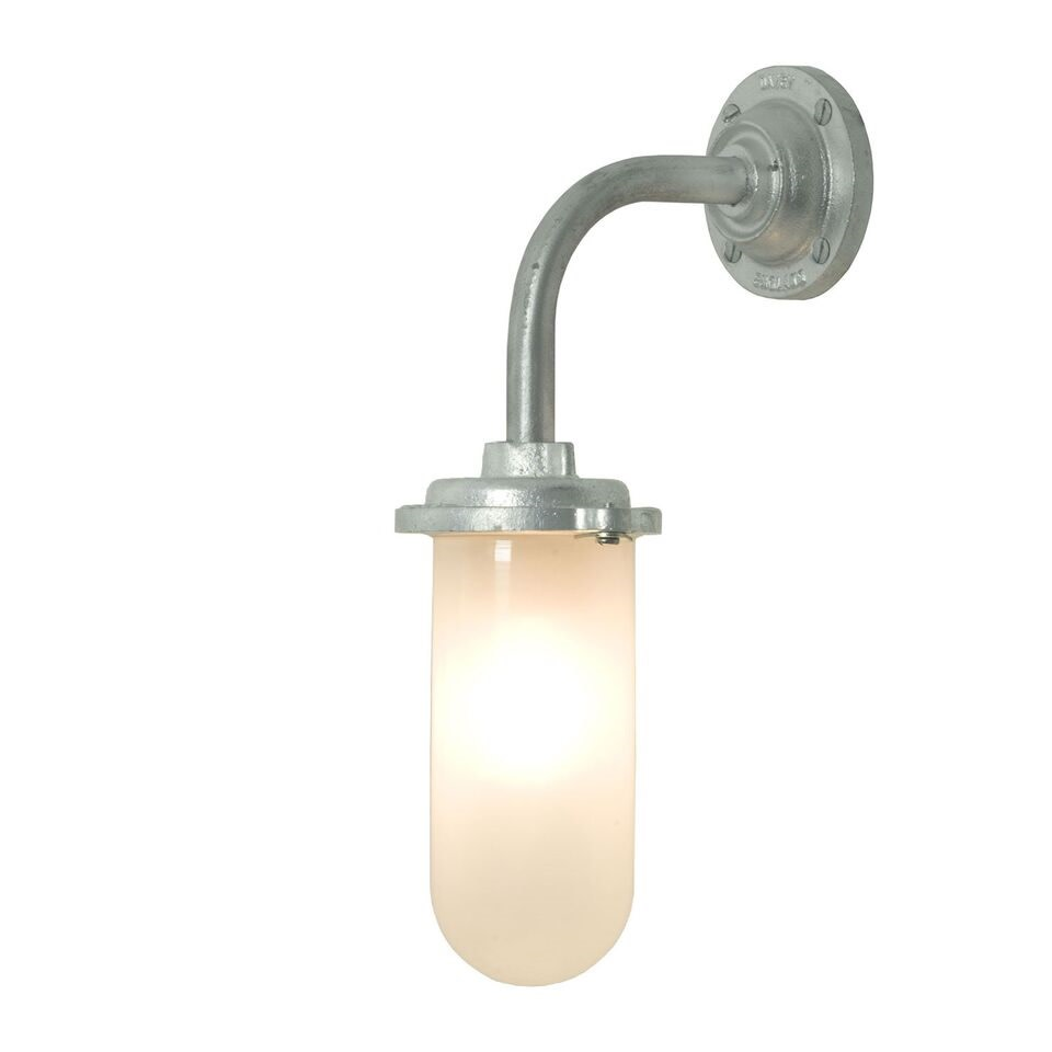 Bracket Wall Light, 60W, Round Backplate 7672 Galvanised silver, Frosted glass