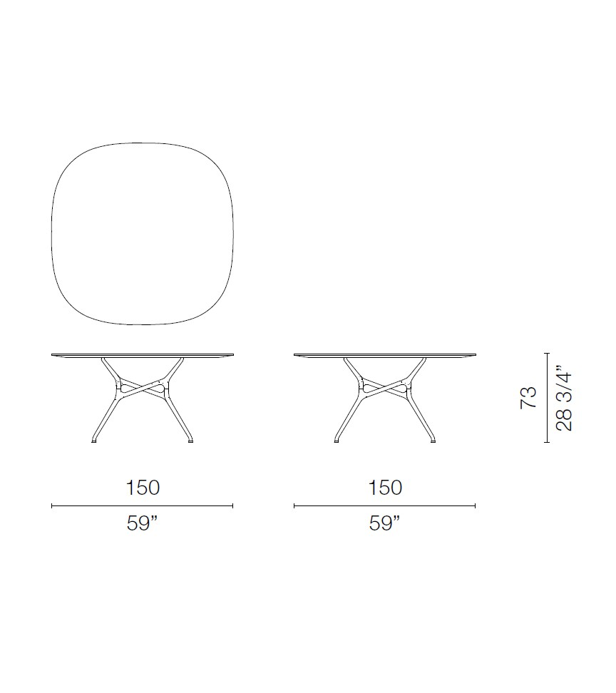 Branch Rounded-Edge Square Table Op 1001, Op 1001