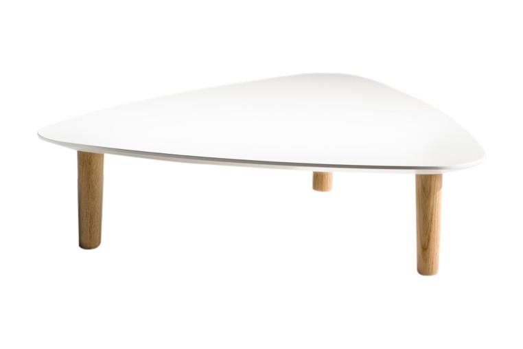 Bread Side Table Triangular White, Natural Oak