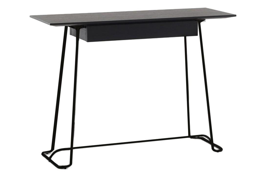 Brera Console Table Black Oak, Lacquered Bronze Metal