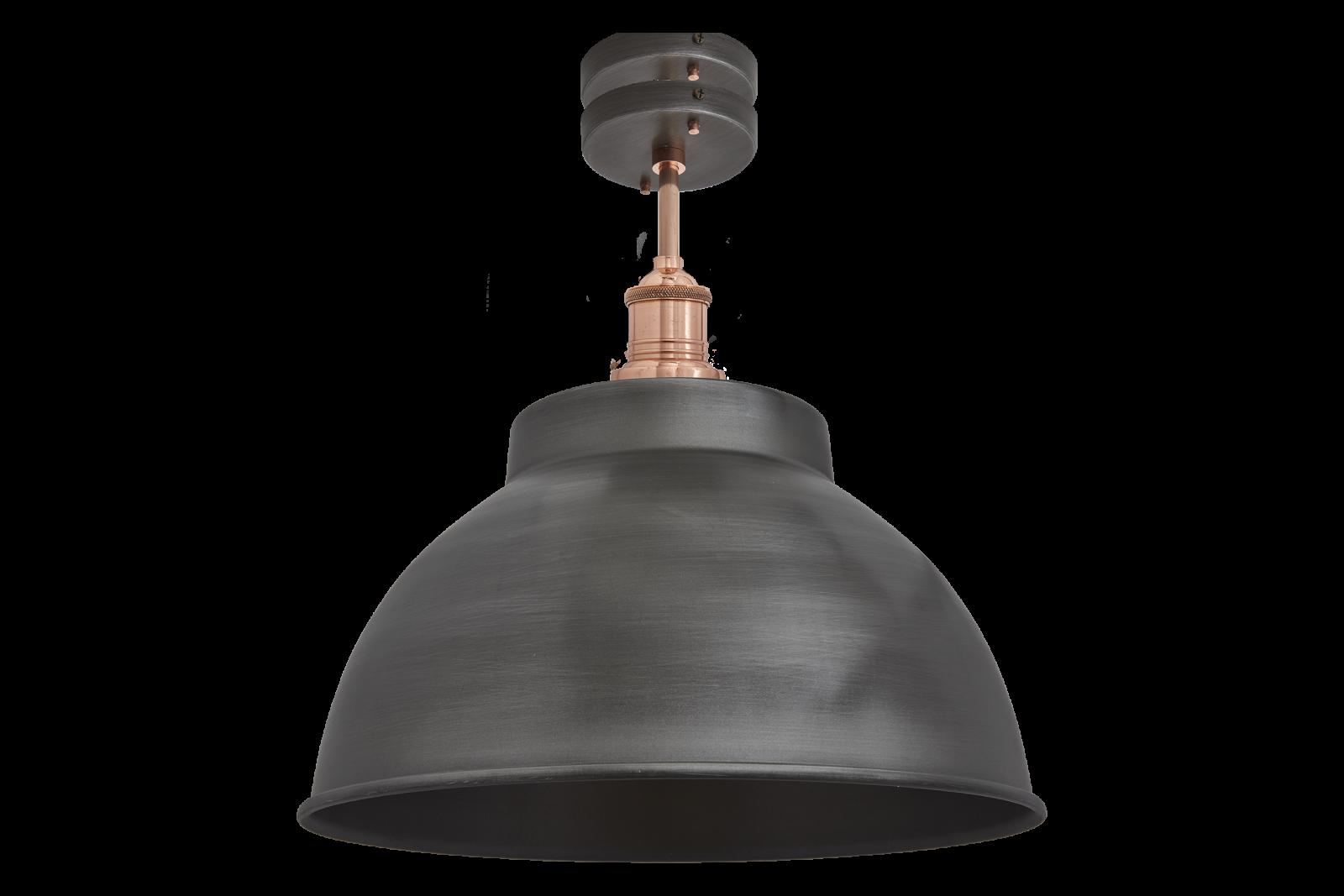Brooklyn Dome Flush Mount Light - 13 Inch Brooklyn Dome Flush Mount - 13 Inch - Pewter - Copper Hold