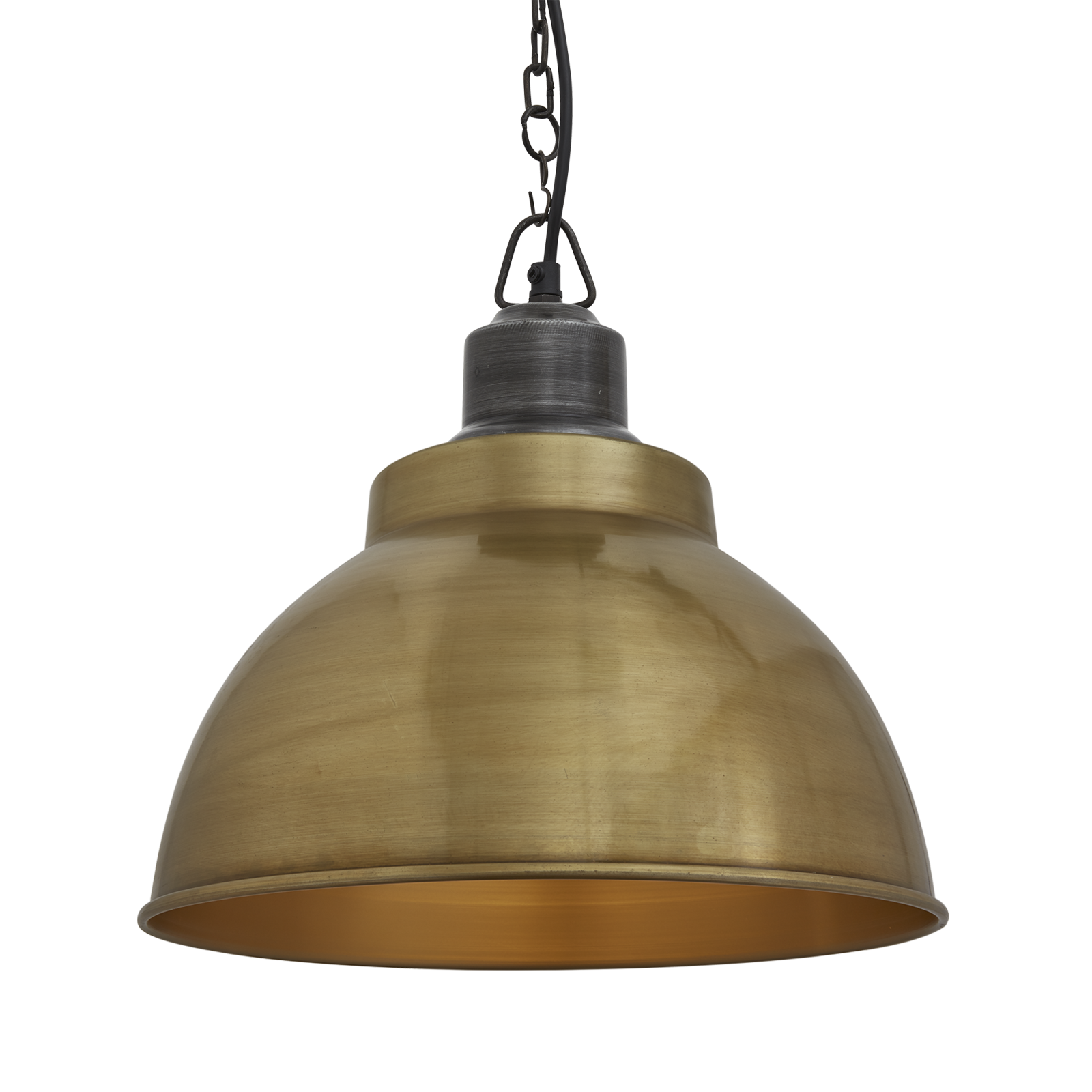 Brooklyn Dome Pendant Light - 13 Inch Brooklyn Dome Pendant - 13 Inch - Brass - Pewter Chain Holder