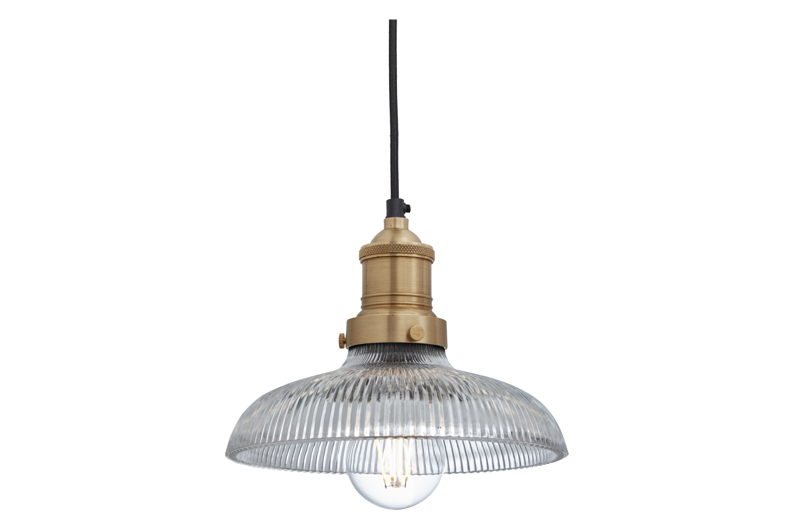 Brooklyn Glass Dome Pendant Light - 8 Inch Brooklyn Glass Dome Pendant - 8 Inch - Brass Holder
