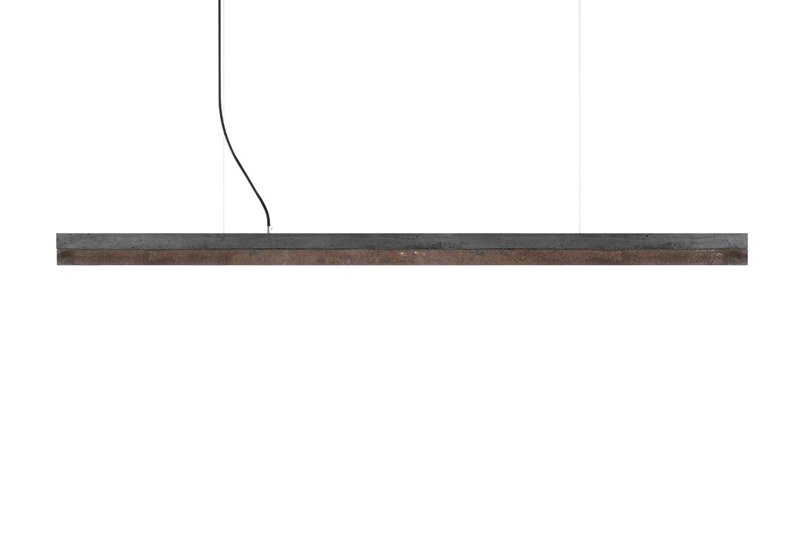 [C] Concrete & Corten Steel Pendant Light Dark grey concrete - cold white (4000K), [C3] - 182cm