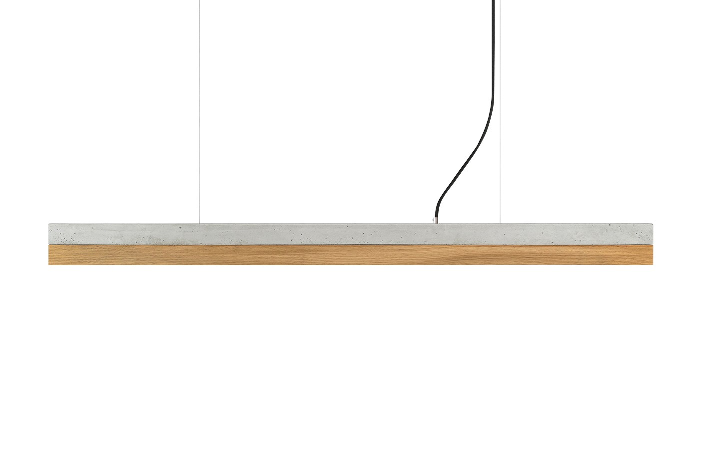 [C] Concrete & Oak Pendant Light Light grey concrete - cold white (4000K), [C1] - 122cm