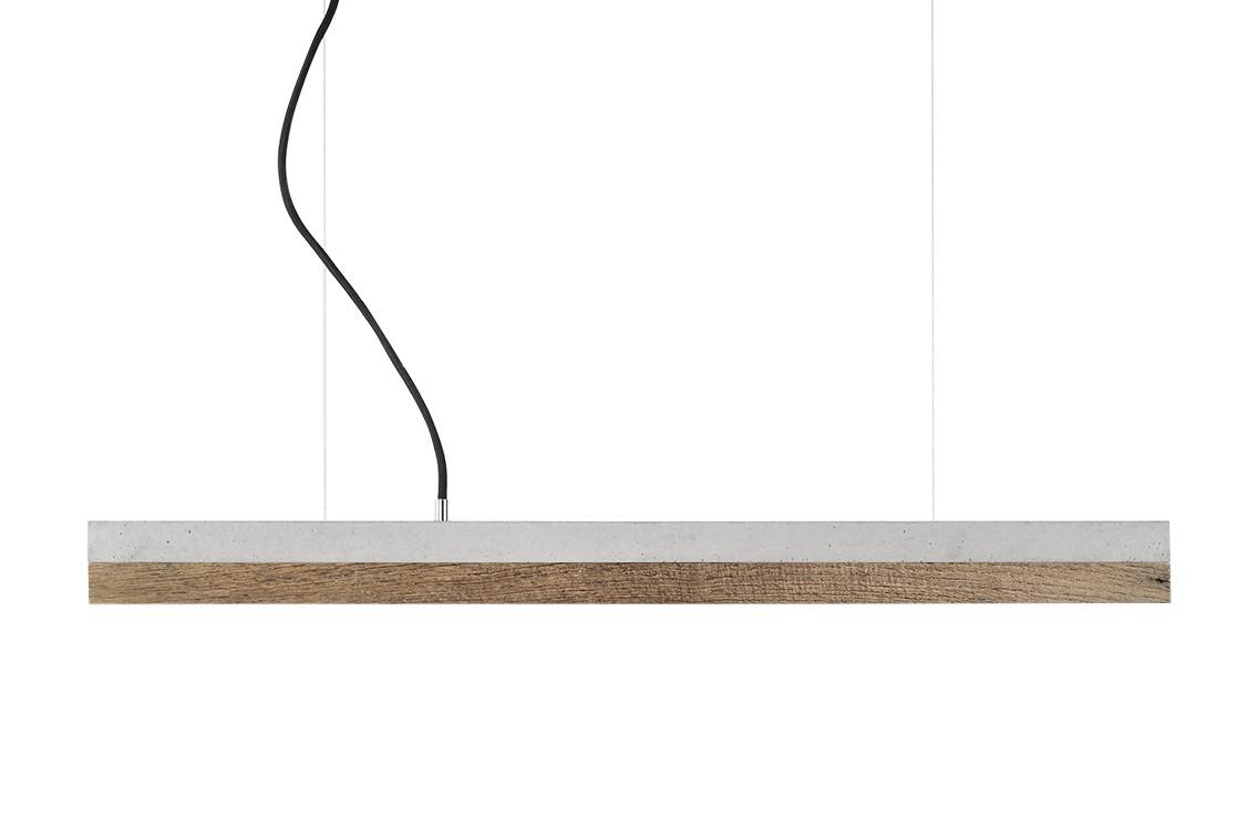 [C] Concrete & Old Wood Pendant Light Light grey concrete - cold white (4000K), [C2] - 92cm