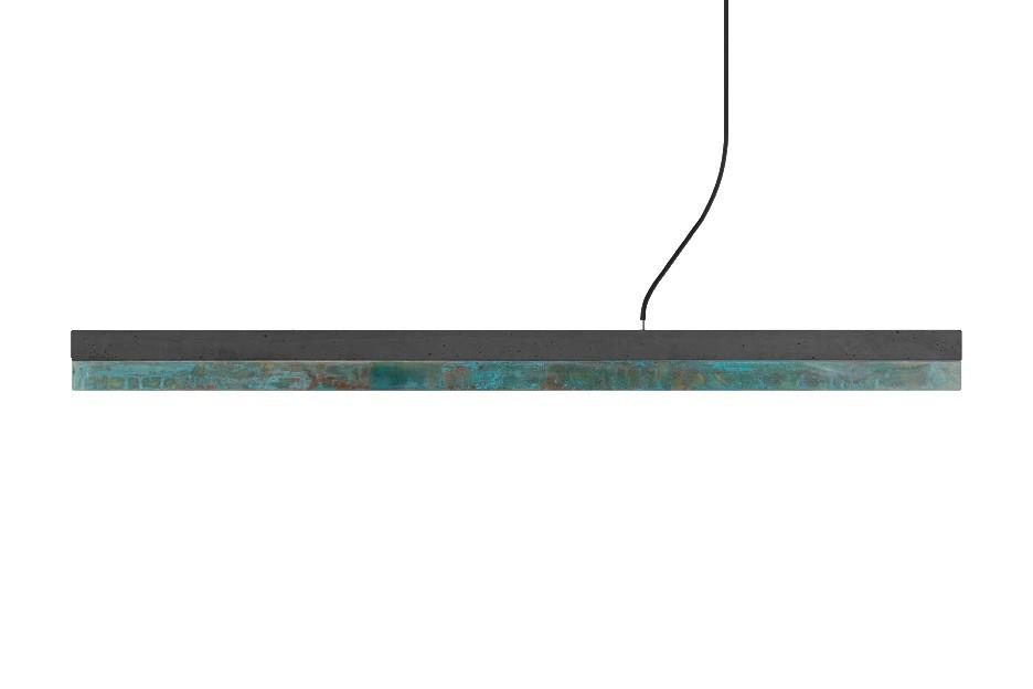 [C] Concrete & Oxidised Copper Pendant Light Dark grey concrete - cold white (4000K), [C1] - 122cm