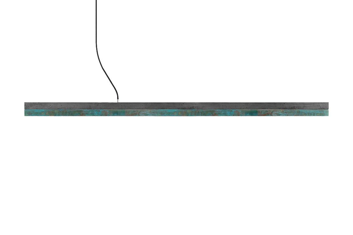 [C] Concrete & Oxidised Copper Pendant Light Dark grey concrete -warm white (2700K), [C3] - 182cm