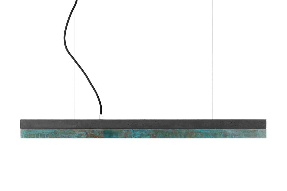[C] Concrete & Oxidised Copper Pendant Light Dark grey concrete - cold white (4000K), [C2] - 92cm