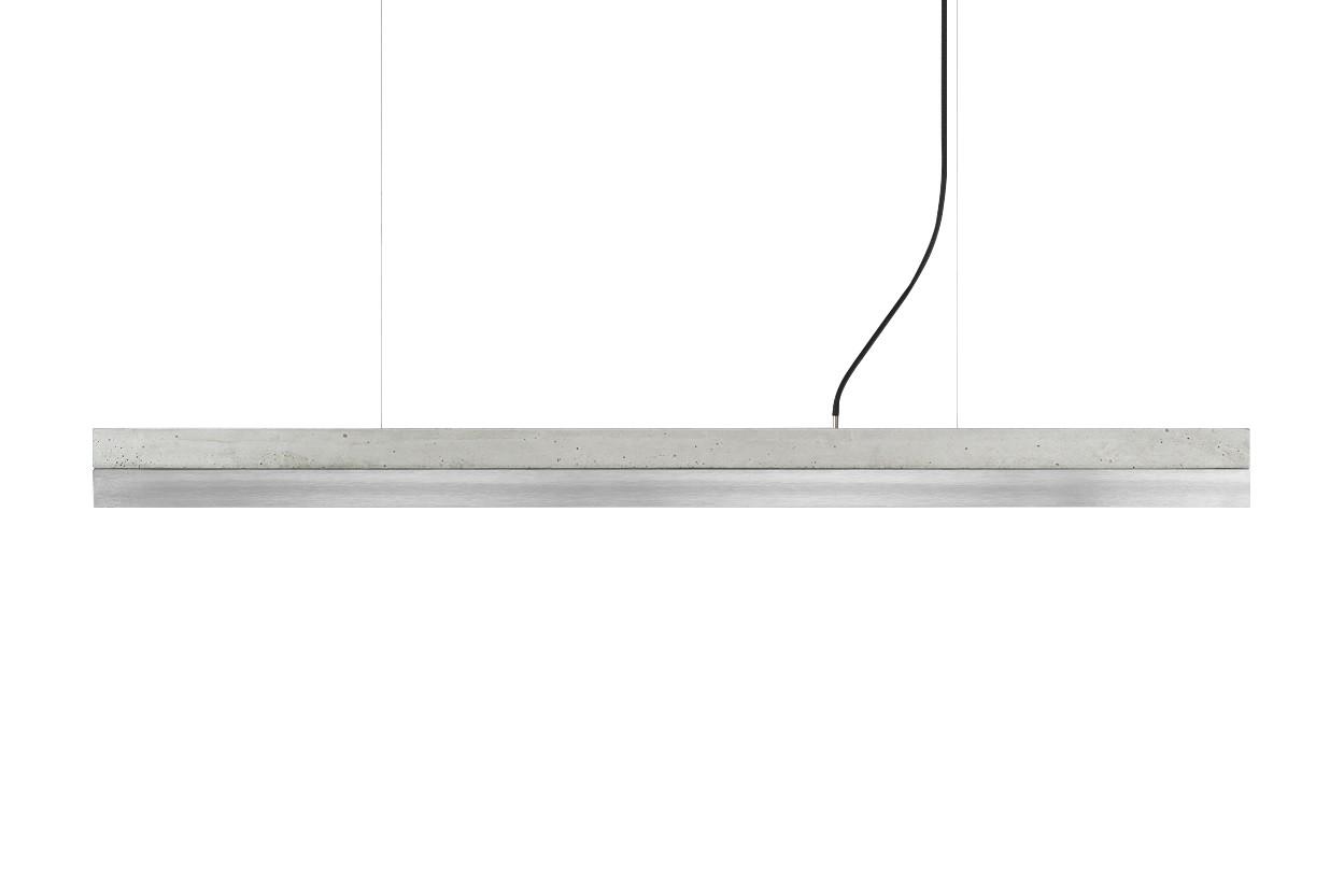 [C] Concrete & Stainless Steel Pendant Light Light grey - warm white (2700K), [C1] - 122cm