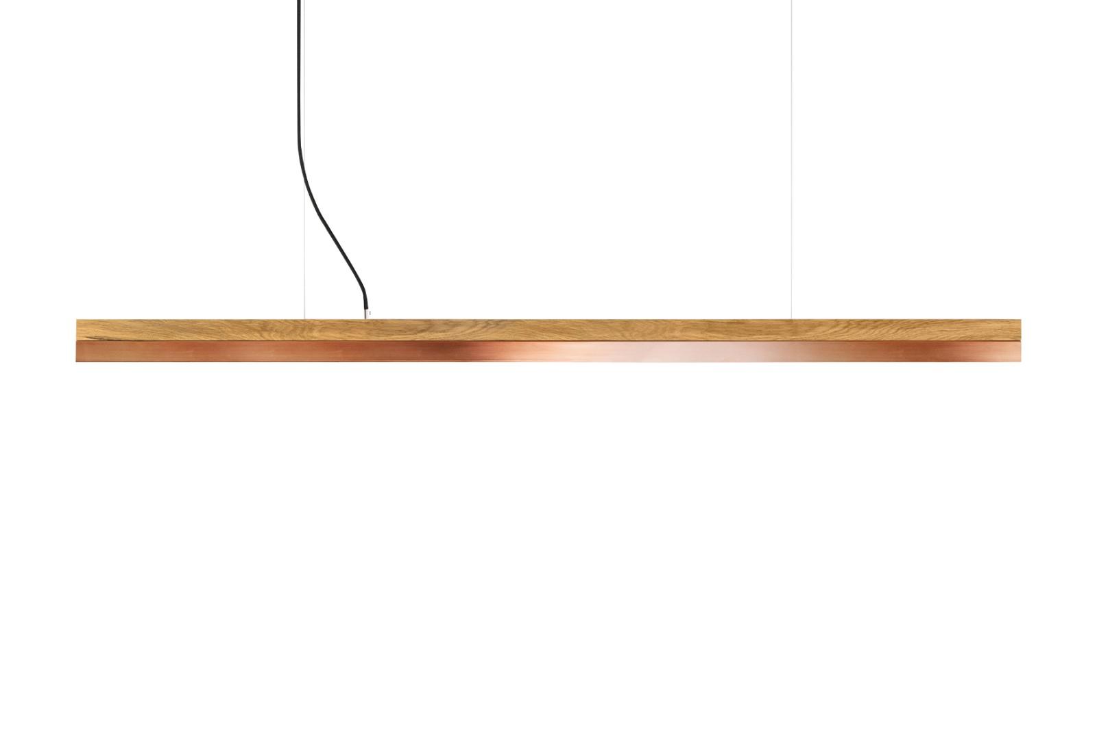 [C] Oak Wood & Copper Pendant Light (92cm, 122cm or 182cm) [C2o] - 92cm, 2700k
