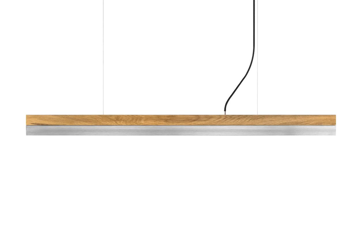 [C] Oak Wood & Stainless Steel Pendant Light (92cm, 122cm or 182cm) [C1o] - 122cm, 4000k