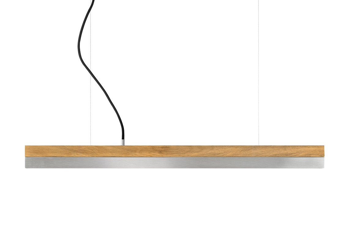 [C] Oak Wood & Stainless Steel Pendant Light (92cm, 122cm or 182cm) [C2o] - 92cm, 4000k