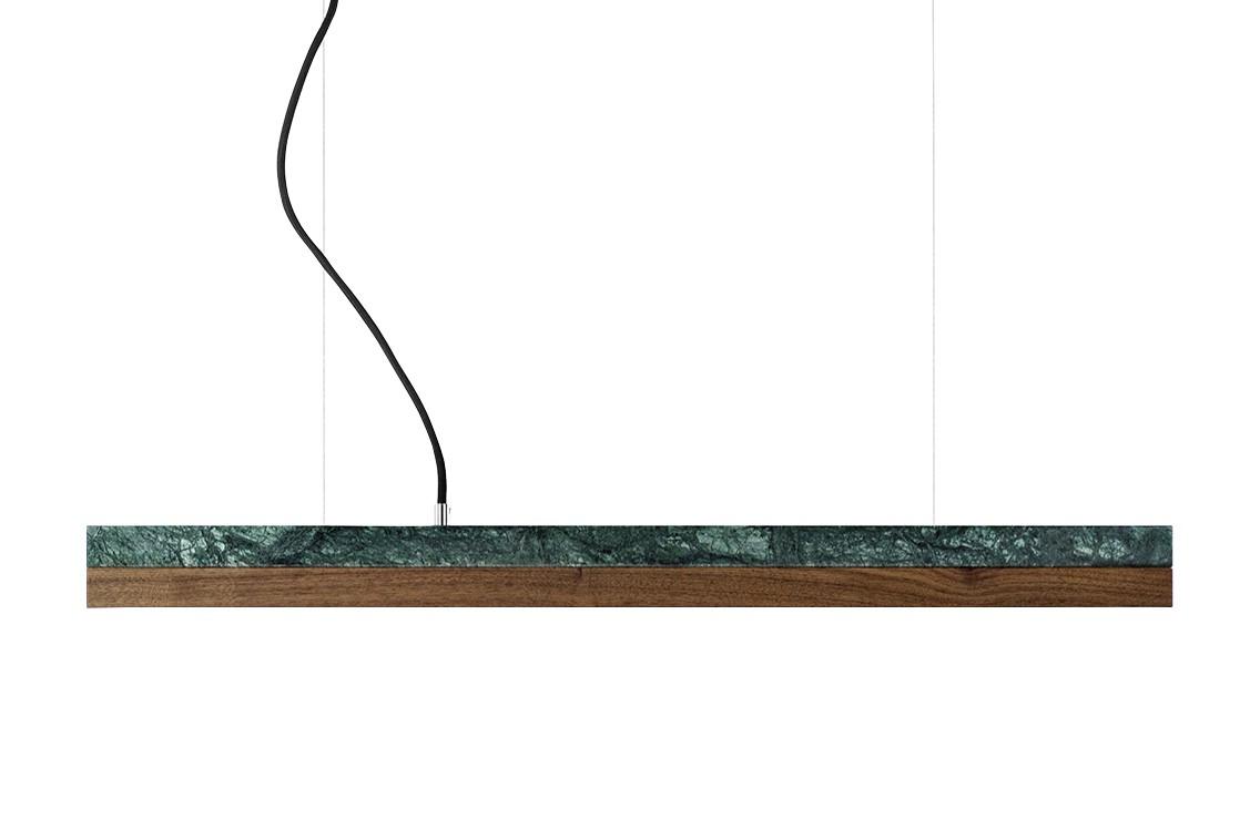 [C2m] Marble Pendant Light (92cm) Verde Guatemala, Walnut, 4000k
