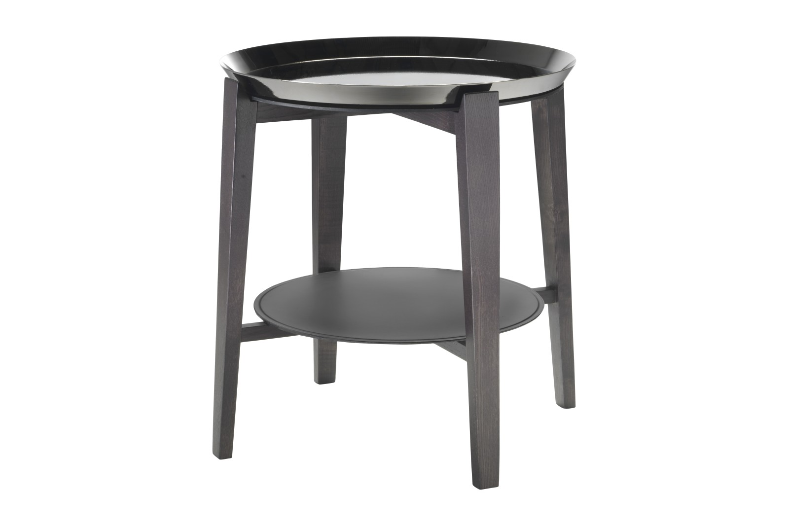 Cabare Side Table Wood Finishes Ashwood Stained Coffee, Hide Leather - Suede Russian Red 5008, Black