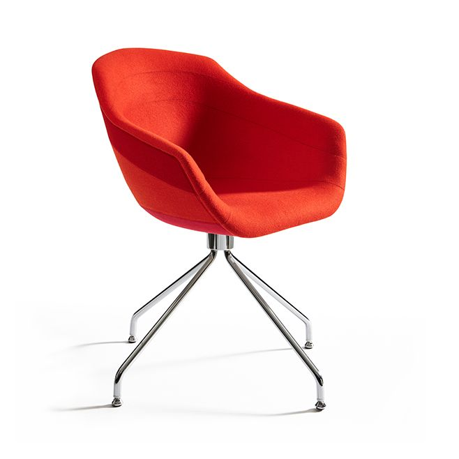 Canal Swivel Dining Chair with Steel Legs Ton Sur Ton - Red