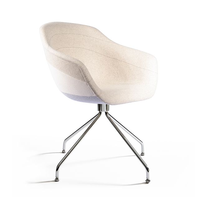 Canal Swivel Dining Chair with Steel Legs Ton Sur Ton - Beige - Grey