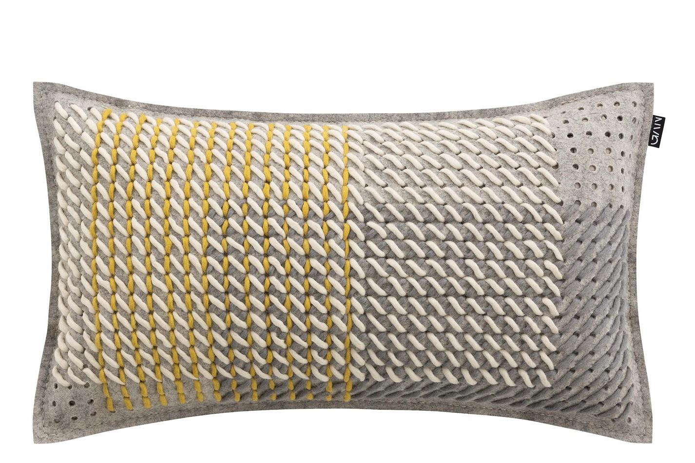 Canevas Geo Rectangular Cushion Grey