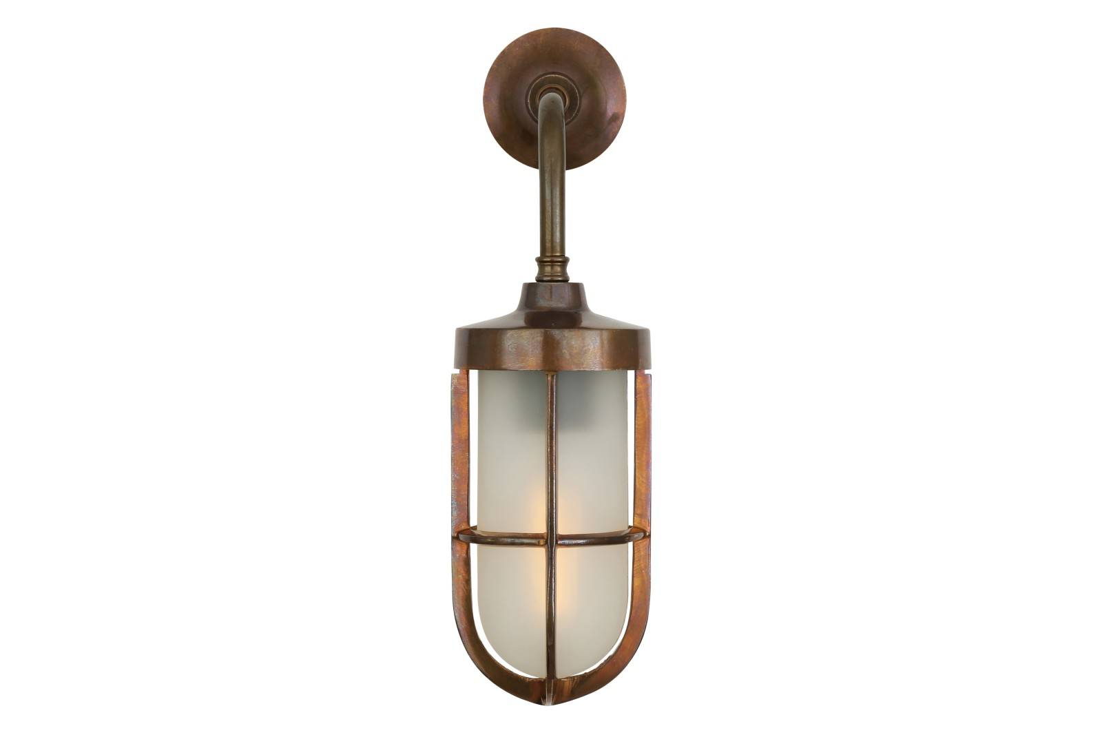 Carac Well Glass Wall Light Antique Brass, Frosted Glass