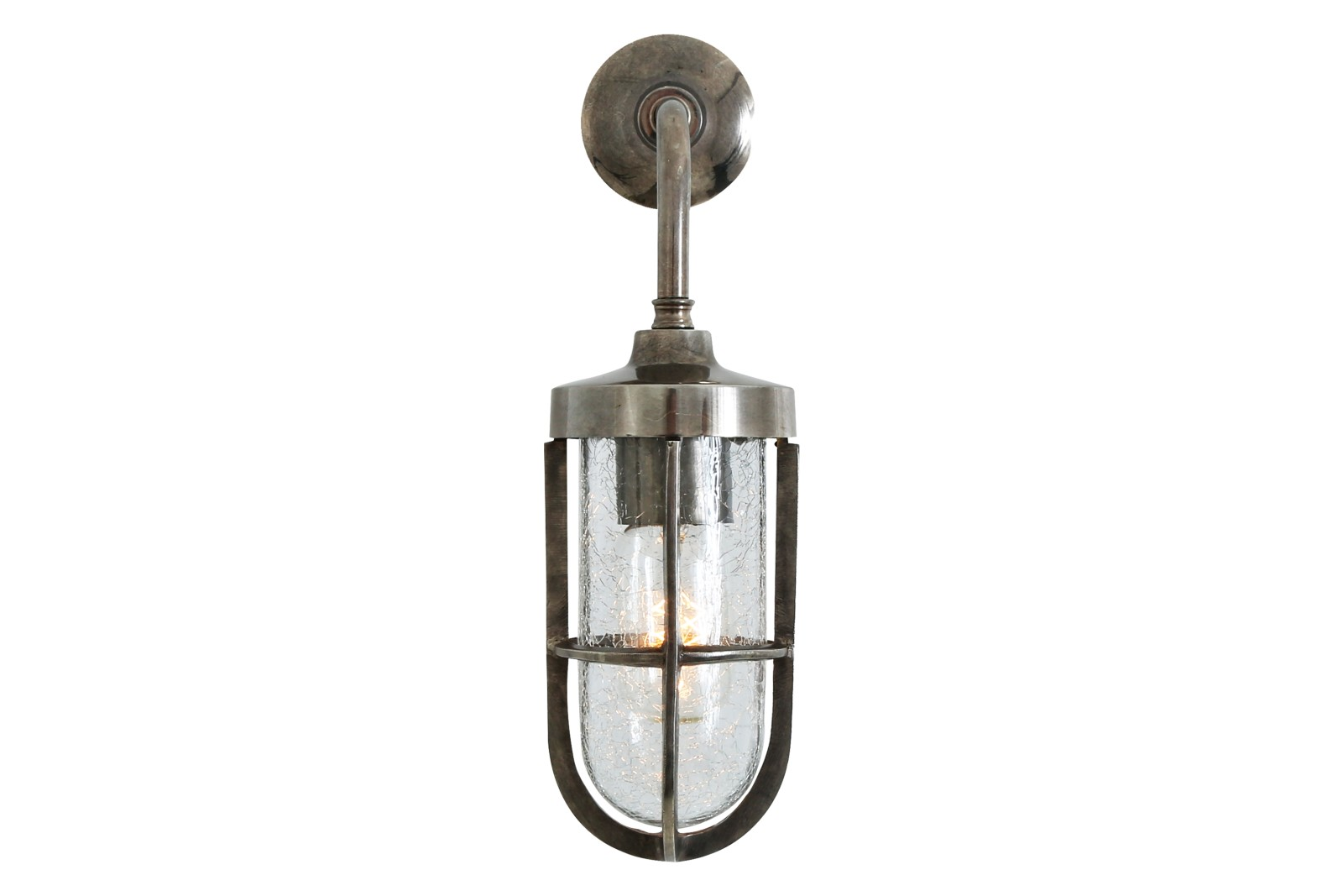 Carac Well Glass Wall Light Antique Silver, Crackled Glass