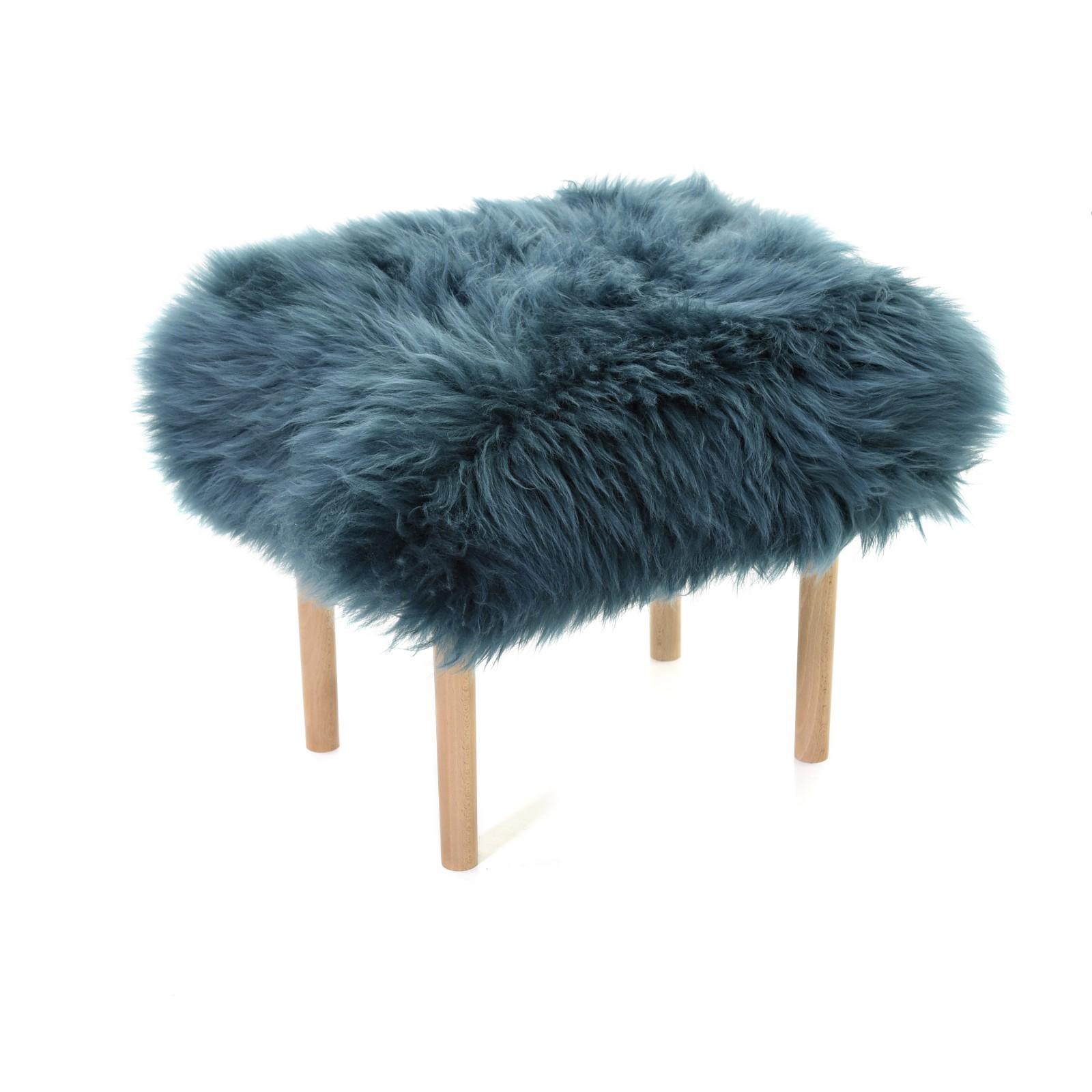 Carys - Sheepskin Footstool Teal