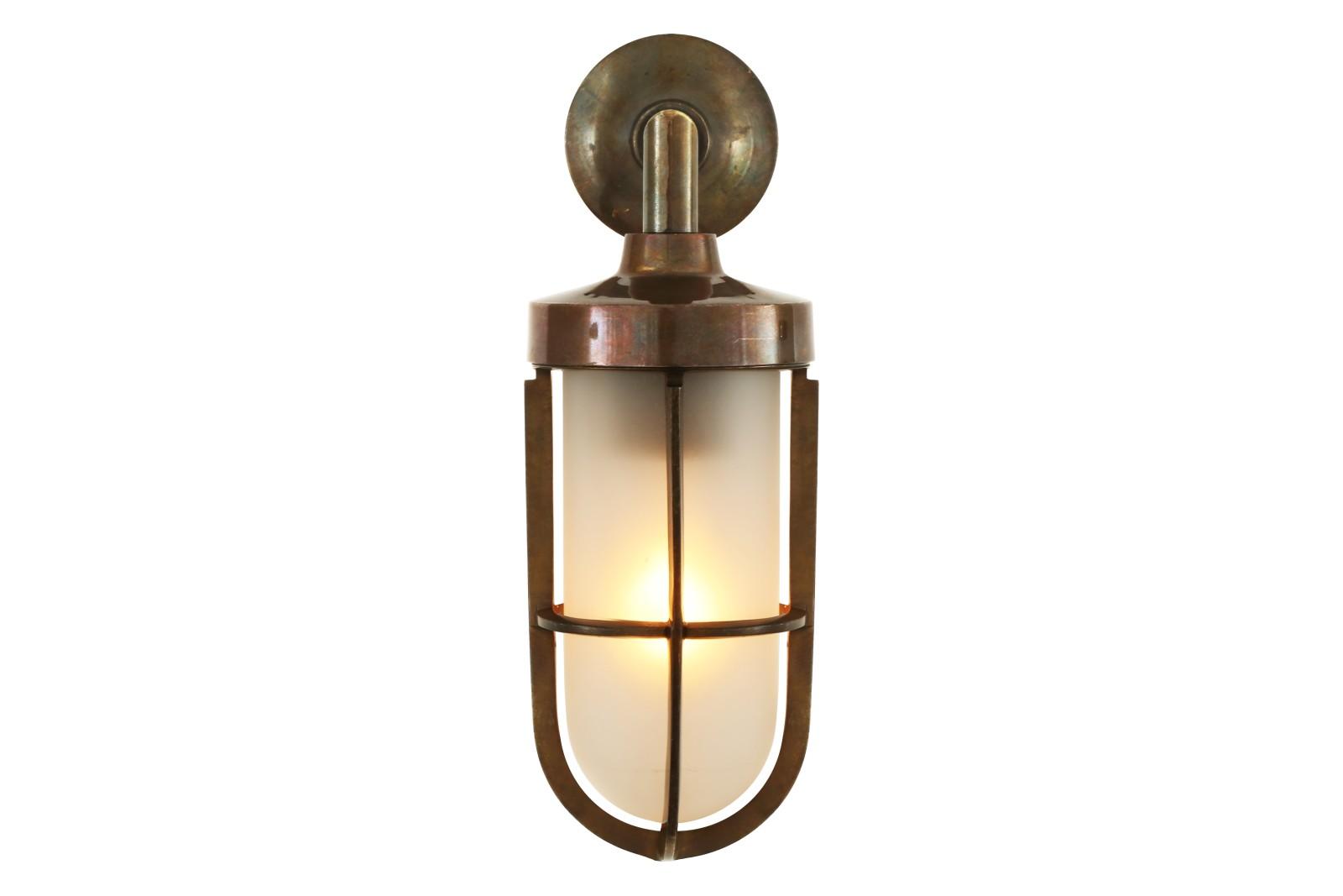 Cladach Brass Well Glass Wall Light Satin Brass, Frosted Glass