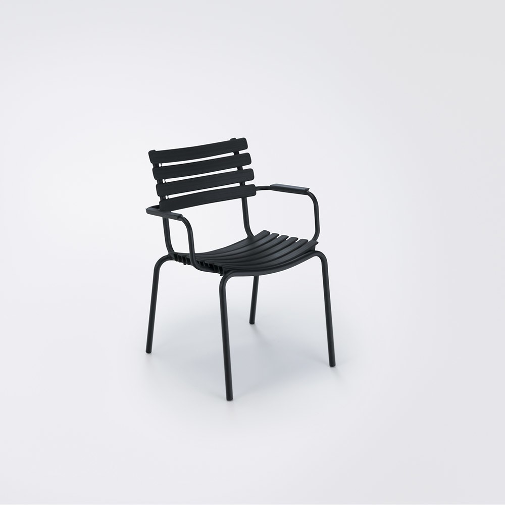 Clips Dining Chair With Armrests Black, Aluminium