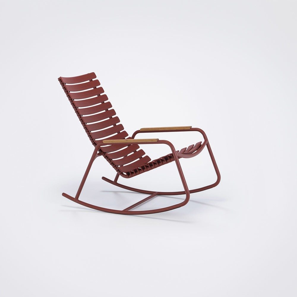 Clips Rocking Chair - Mono Colour, Bamboo Armrests Paprika
