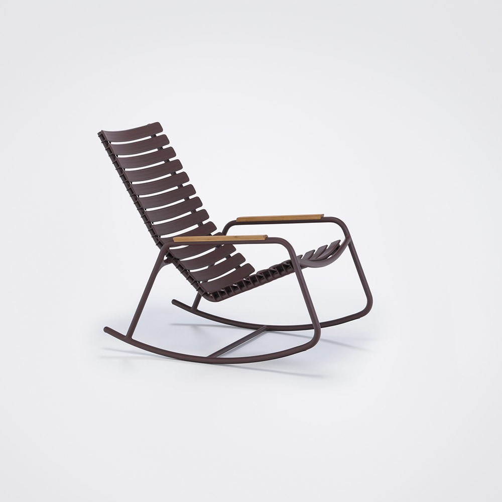 Clips Rocking Chair - Mono Colour, Bamboo Armrests Plum