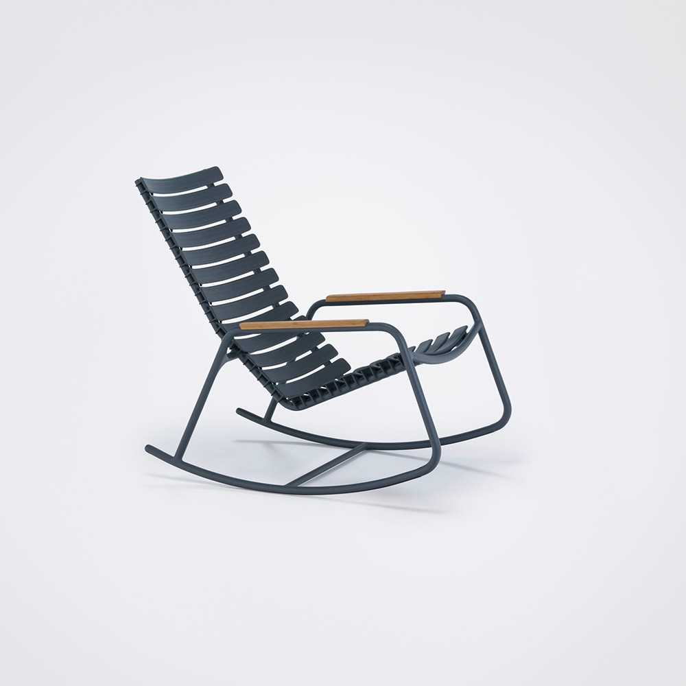 Clips Rocking Chair - Mono Colour, Bamboo Armrests Midnight Blue