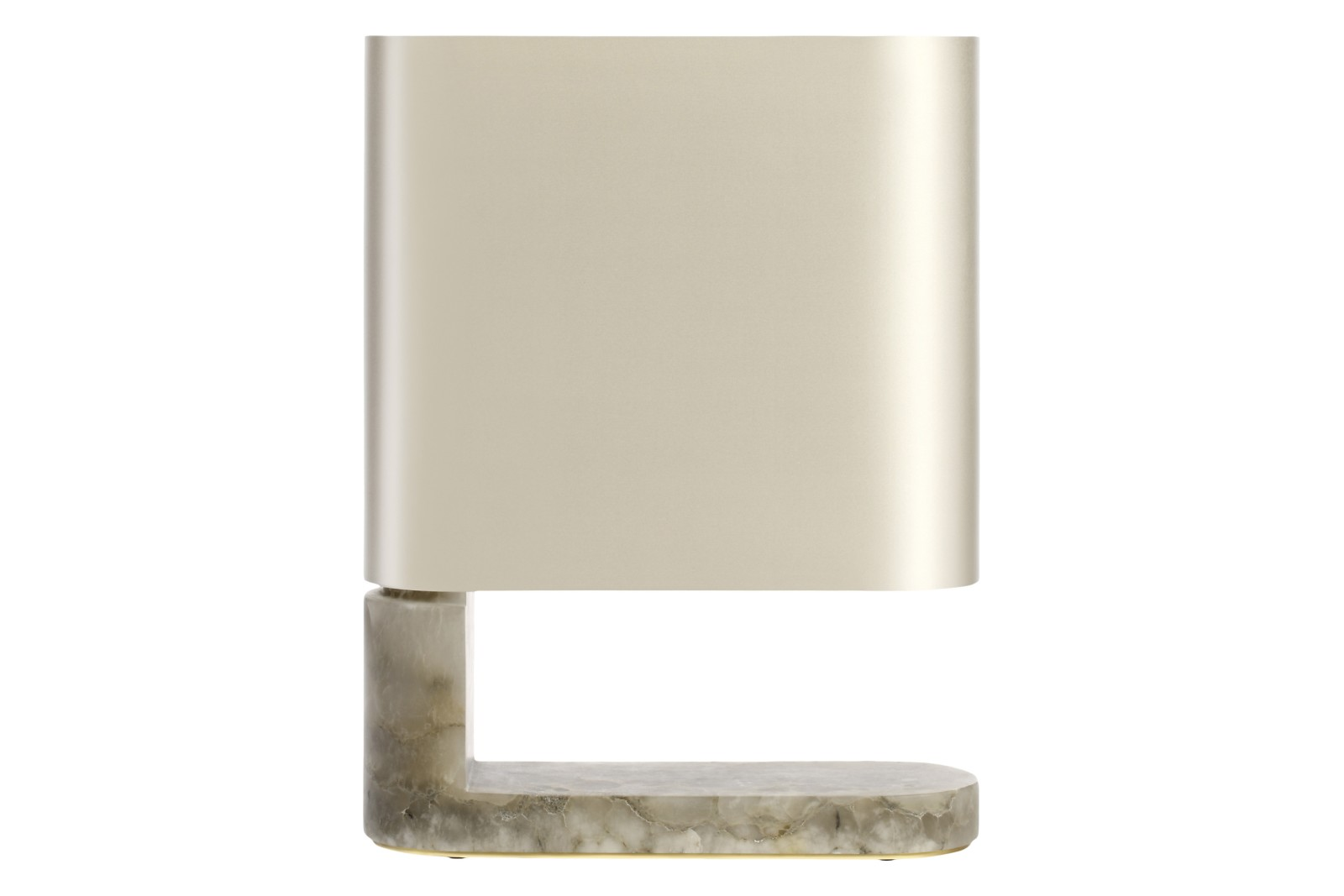 Columbo Table Lamp Grey Alabaster with Satin Brass and Dove Grey Silk