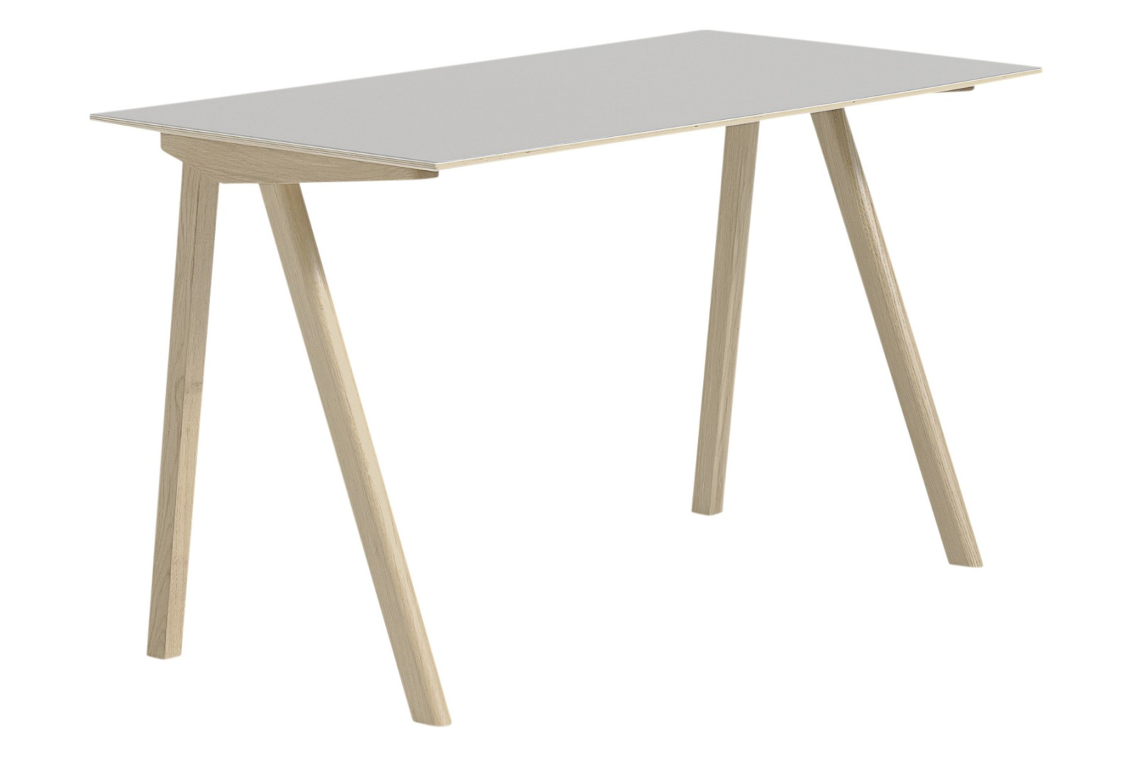 Copenhague Linoleum Top Desk CPH90 Matt Lacquered Solid Oak Base, Off White Linoleum Top