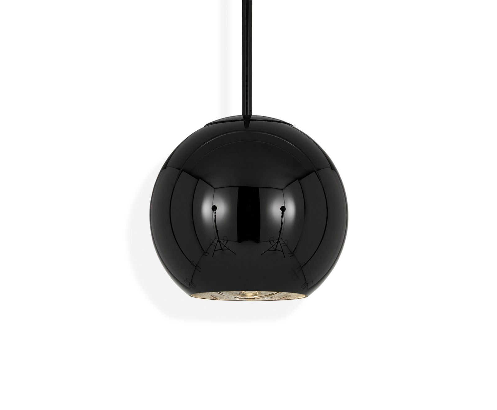 Copper Round Pendant Light Black, 25cm