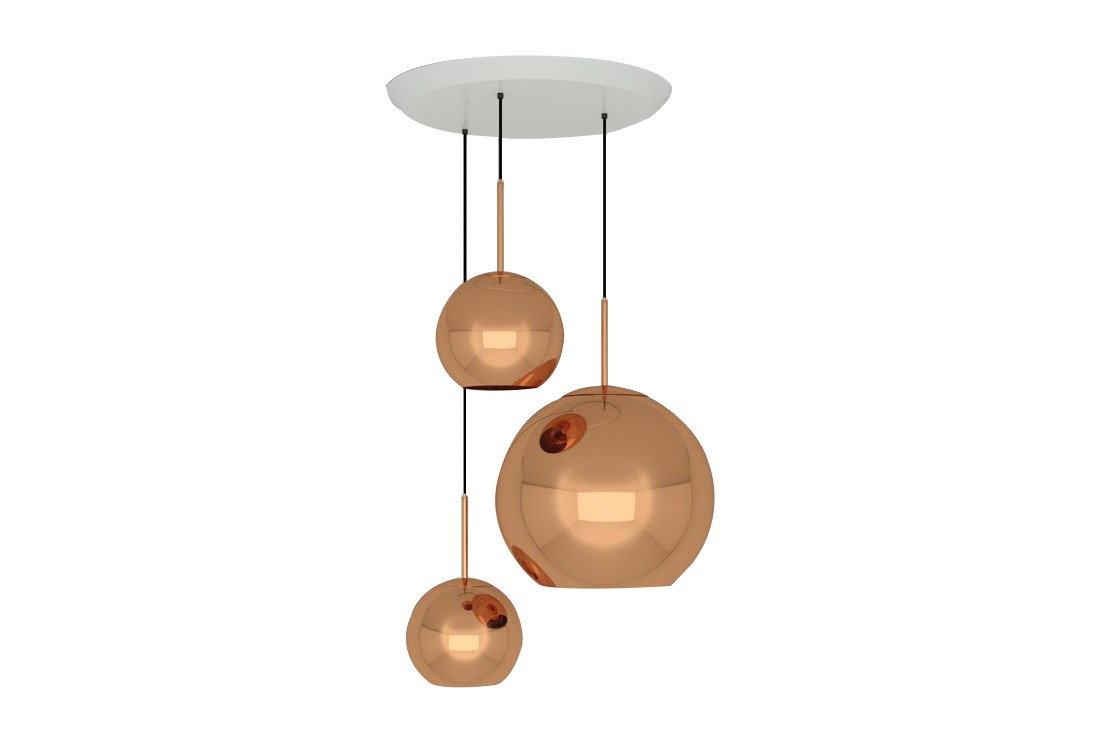 Copper Trio Round Pendant System Copper