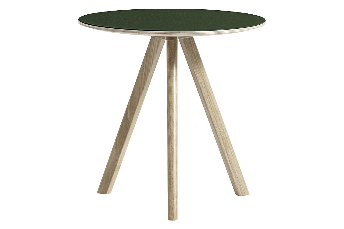 CPH 20 Round Coffee Table Linoleum Green / Wood Soaped Oak