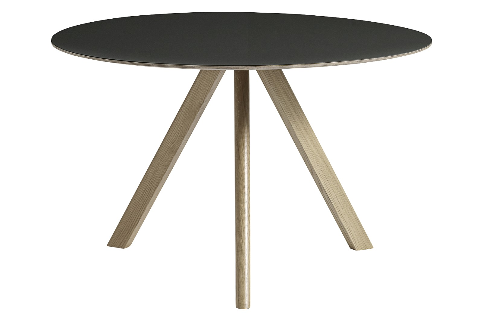 CPH 20 Round Dining Table Linoleum Black / Wood Soaped Oak, 120cm