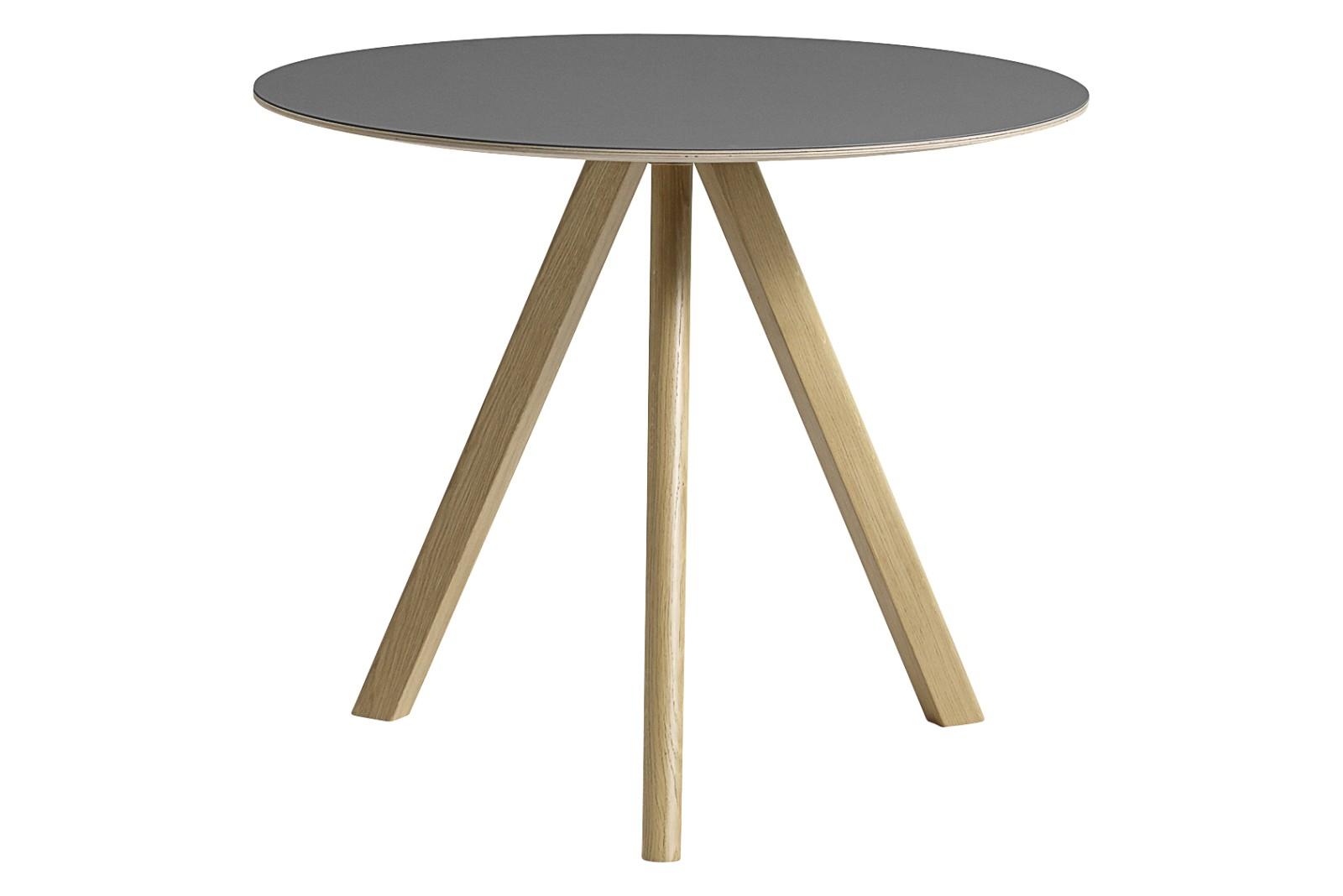 CPH 20 Round Dining Table Linoleum Grey / Wood Clear Oak, 90cm