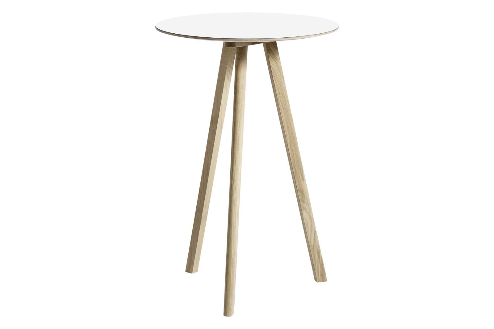 CPH 20 Round High Table Laminate White / Wood Matt Oak
