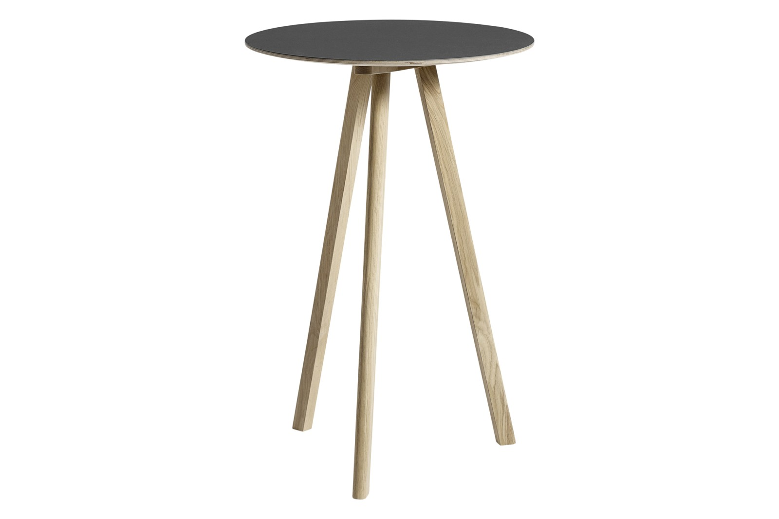 CPH 20 Round High Table Linoleum Black / Wood Matt Oak