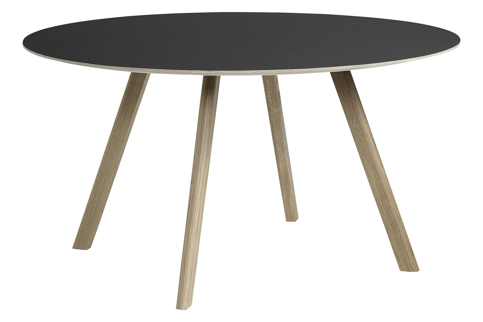 CPH 25 Round Dining Table Linoleum Black / Wood Soaped Oak