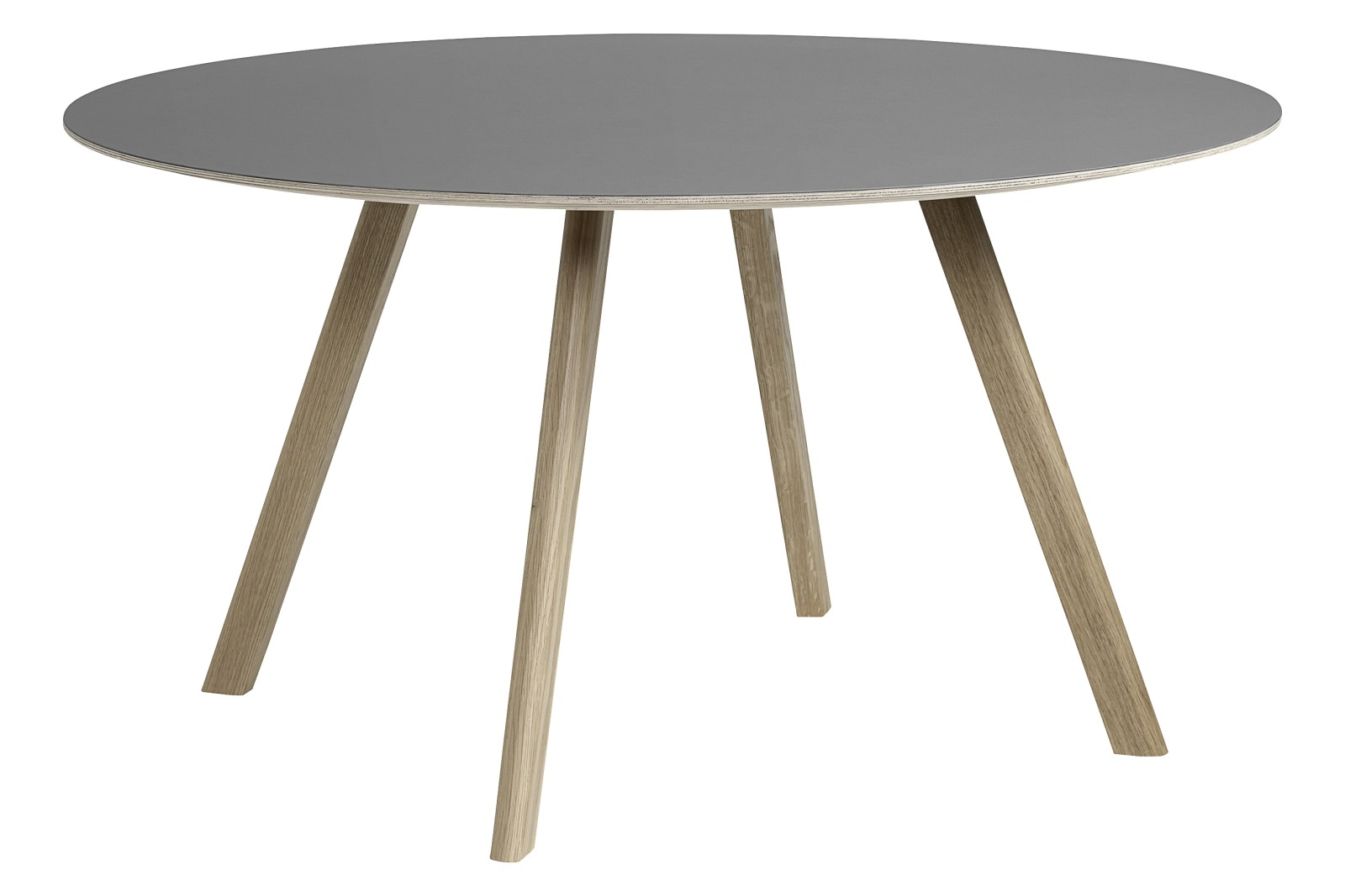 CPH 25 Round Dining Table Linoleum Grey / Wood Soaped Oak
