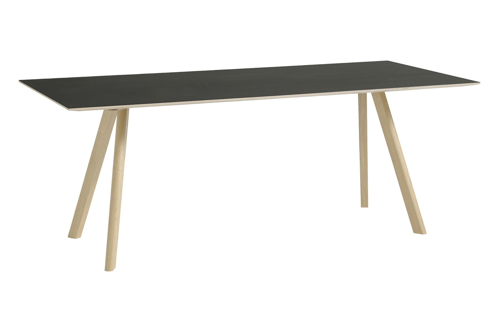 CPH 30 Rectangular Dining Table Linoleum Black / Wood Matt Oak, 200 x 90 cm