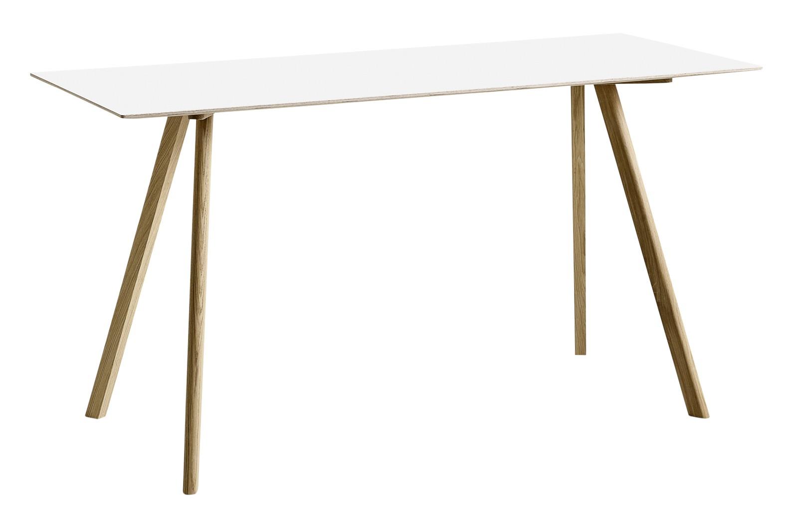 CPH 30 Rectangular High Table Laminate White / Wood Matt Oak