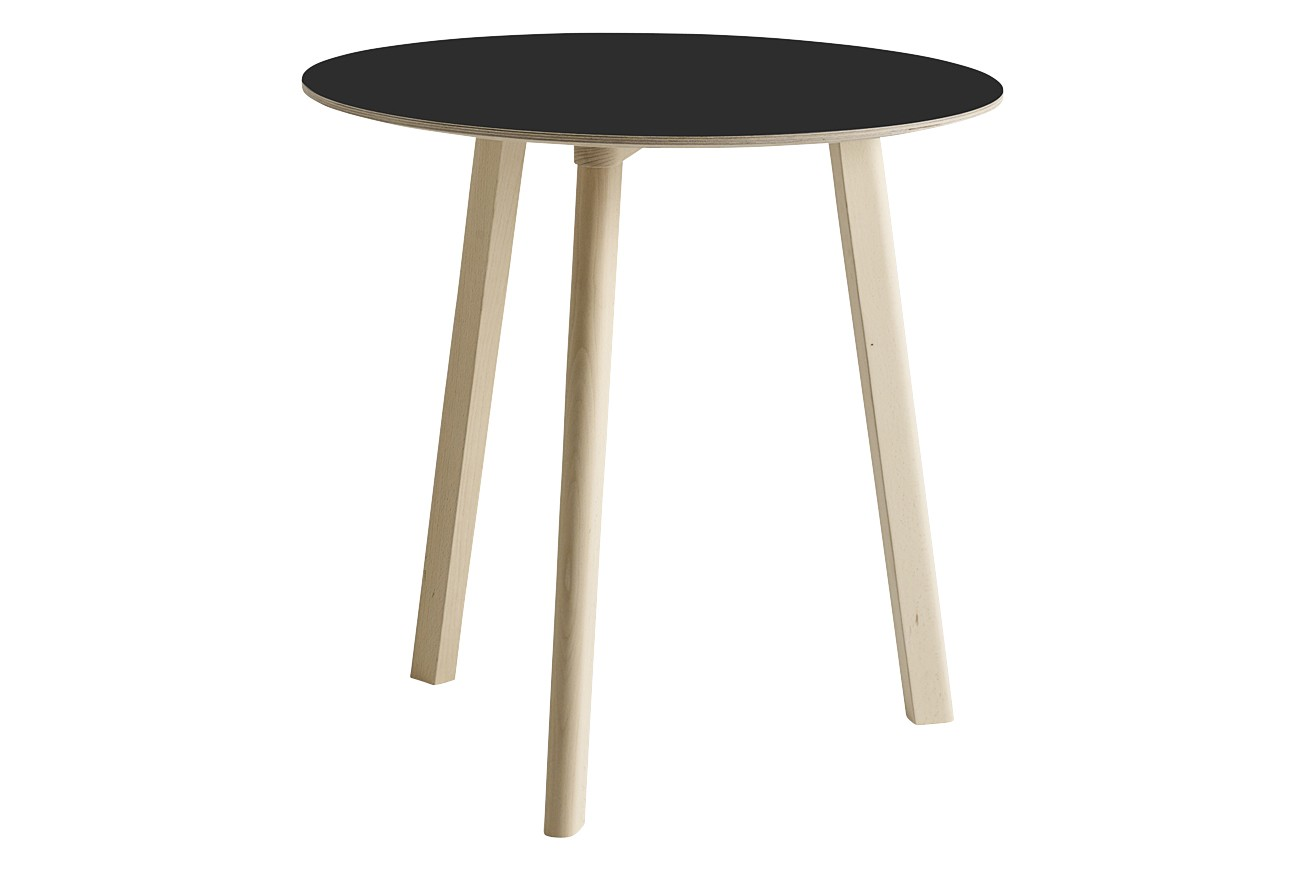 CPH Deux 220 Round Dining Table Laminate Ink Black / Wood Untreated Beech, 75cm